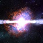 Artist's rendition of a magnetorotational hypernova explosion